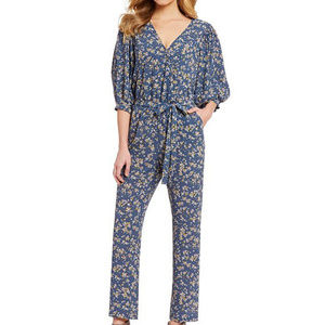 1 STATE Heritage Print Belted Surplice Jumpsuit